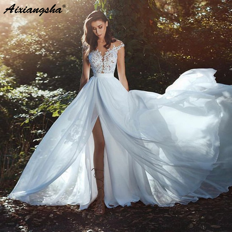 Graceful Tulle Chiffon Illusion Bodice A-line Wedding Dress 2018 robe de mariee With Lace Appliques Side Slit Wedding Gowns