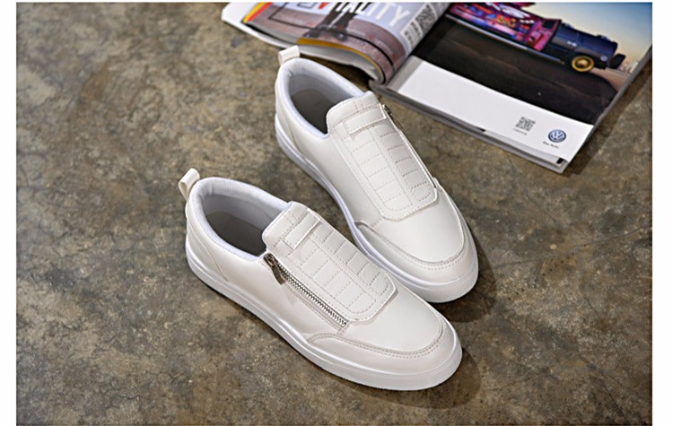 BODNSN Casual Men\'s Skate Shoes Zip Leather Flats 2016 New Solid Round Toe Men\'s Flat Shoes Breathable Fashion Man Shoes PX43 (3)