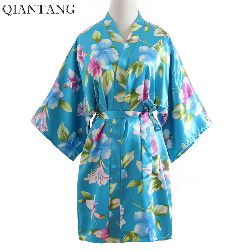 Plus Size Fashion Ladies Summer Kimono Short Night Robe Bath Gown Light Blue Womens Bride Bridesmaid Wedding Dress Nightwear
