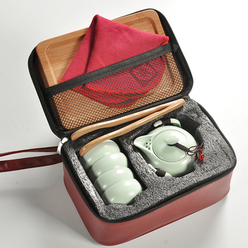 Chinese Travel Kung Fu Tea Set Ceramic Portable Teacup Porcelain Service Gaiwan Tea Cups Mug of Tea Ceremony Teapot 1 Pot+4 cups & Chinese Travel Kung Fu Tea Set Ceramic Portable Teacup Porcelain ...
