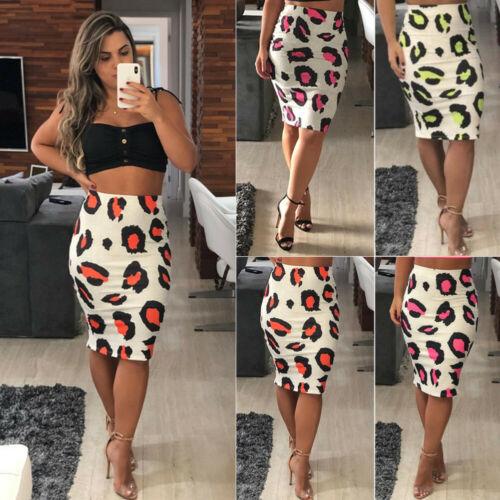 Fashion Women Sexy Printed Bodycon Bandage Leopard Short Skirts High Waist Pencil Split Short Skirt 2019 Hot Sale LR00326
