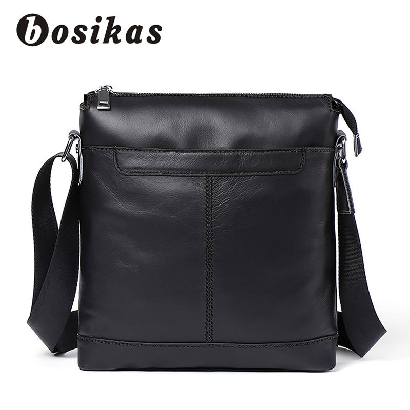 BOSIKAS Men Genuine Leather Bag Fashion Leather Crossbody Bag Shoulder Men Messenger Bags Small Casual Designer Handbags Man Bag