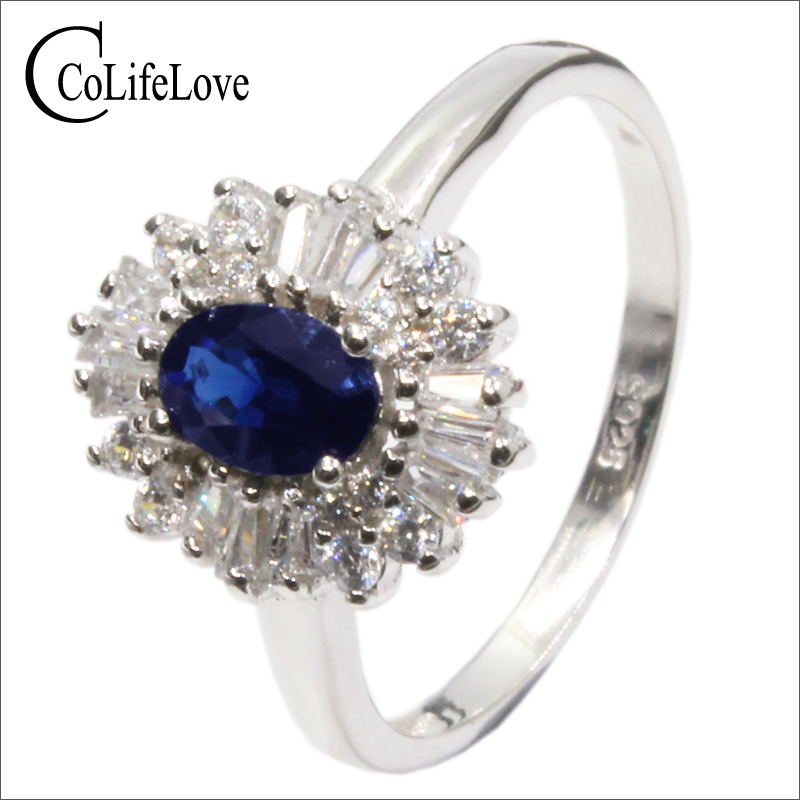 100% Natur Royal Blue Sapphire Silber Ring 0.5ct 4mm * 6mm Si Grade Sapphire Edelstein Solide 925 Silber Saphir Hochzeit Ring Waren Jeder Beschreibung Sind VerfüGbar