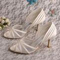 Wedopus New Style Nupcial Cetim Marfim Sapatos de Casamento Do Dedo Do Pé Aberto Sapatos de Salto Médio REINO UNIDO Dropshipping