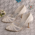 Wedopus New Style Open Toe Bridal Ivory Satin Wedding Shoes Mid Heel Shoes UK Dropshipping