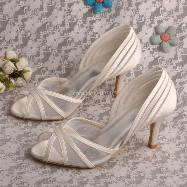 Wedopus New Style Open Toe Bridal Ivory Satin Wedding Shoes Mid Heel Uk Dropshipping