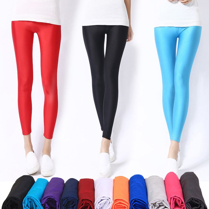 Leggings Trousers Pant Elasticity Shinny Spandex Fluorescent Casual Women Solid-Color