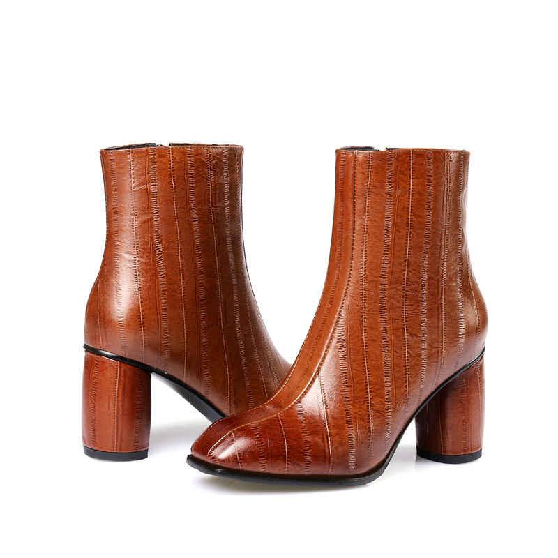 ASUMER YENI 2018 sığ yarım çizmeler kadınlar için yüksek kalite moda hakiki deri çizmeler kare ayak klasik yüksek topuklu çizmeler