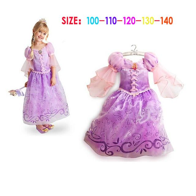Fantasia Vestidos crianças crianças menina Cosplay Vestidos Rapunzel Sofia traje da princesa vestido de dormir beleza de Dress realize roupas