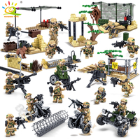 KAZI Wolf Military Field Army Soldiers Mini Action Figures Building Blocks Weapon Bricks Building Enlighten Toys