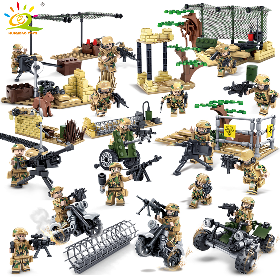 Military Army World War Soldiers Compatible Legoed city figures Weapon Building blocks DIY Bricks enlighten children toy for boy enlighten 1406 8 in 1 combat zones military army cars aircraft carrier weapon building blocks toys for children
