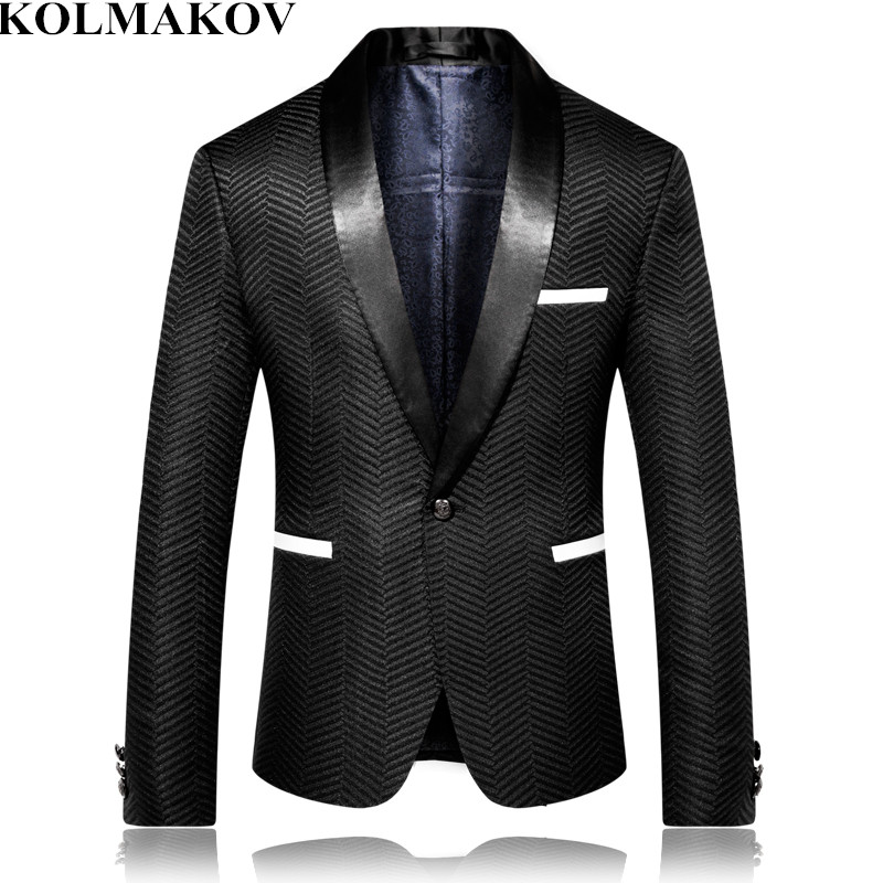 Brand Autumn British Style Blazer Masculino Mens Stage Clothes Black Men's Blazers Jackets 2019 Dress Slim Fit Plus Size M-4XL