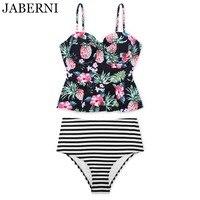 JABERNI Retro High Waist Swimwear Sexy Push Up Floral Bikini 2017 Striped Bottom Swimsuit Women Vintage