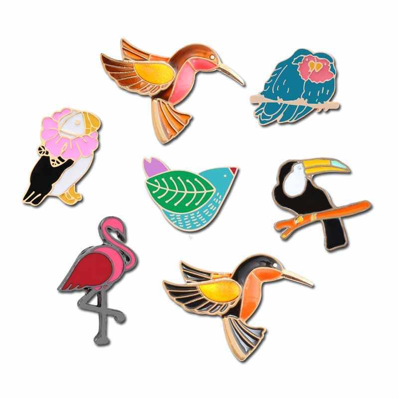 7 Kartun Enamel Bros Hummingbird Pin Crow Flamingo Sparrow Pelican Lencana Ikan Burung Denim Sweater Tas Kilt Aksesoris