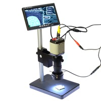2MP Industry Digital Microscope Camera 7 LCD Monitor HD 2in1 Stand Holder 100X C Mount Lens 40 LED Ring for PCB Mobile Repair