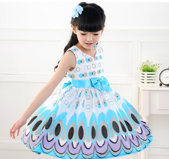 Unkids Kids Girls Dress niedliche Pfauenfarbe ärmellose Prinzessin Kleid Kreis Korean Fashion Kinder neue Kleidung