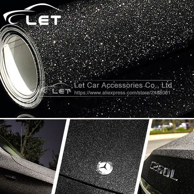 Car Styling Black Glitter Diamond Shiny Vinyl Films Wrap For Car Body Car Sticker Auto Decoration Motorcycle Decal