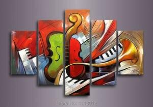 Горячий красный рожок пианино скрипка картина маслом «Музыка» высокое качество 5 шт. набор на холсте украшение дома Современная картина для...