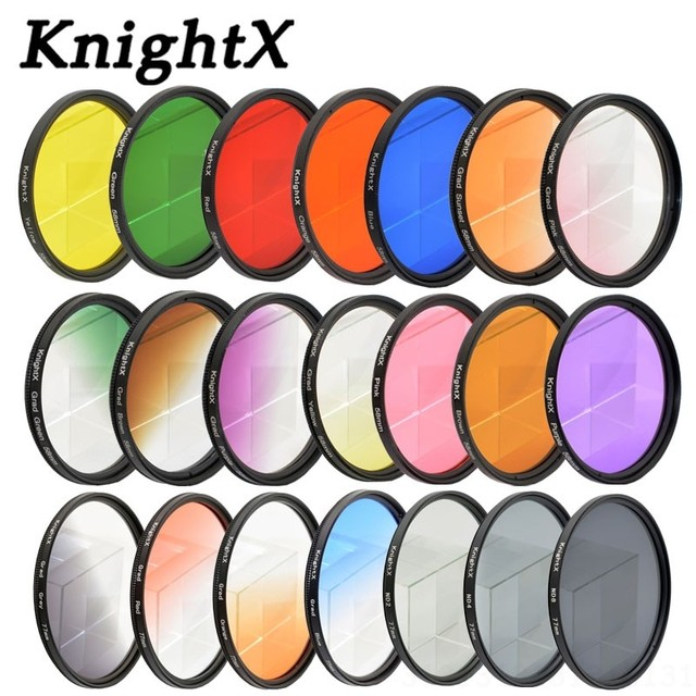 KnightX 24 color filter for nikon canon 18 55 d80 anamorphique lens eos 600d photography lentes para 52mm 58mm 67mm uv CPL nd