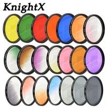 KnightX 24 di colore filtro per nikon canon 18 55 d80 anamorphique lens eos 600d photography lentes para 52mm 58mm 67mm uv CPL nd