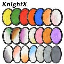 KnightX 24 renk filtresi nikon canon 18 55 d80 anamorphique lensi eos 600d fotoğraf lentes para 52mm 58mm 67mm uv CPL nd