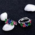 SHUANGR Vintage Women Water Drop Cubic Zirconia Plateado Earing Cristal De Piedra Joyería Del Pendiente Del Aro Del Círculo de Lujo