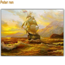 Smooth sailing Diamond embroidery Diy painting cross stitch 60*50cm 3d square drill mosaic pasted full canvas