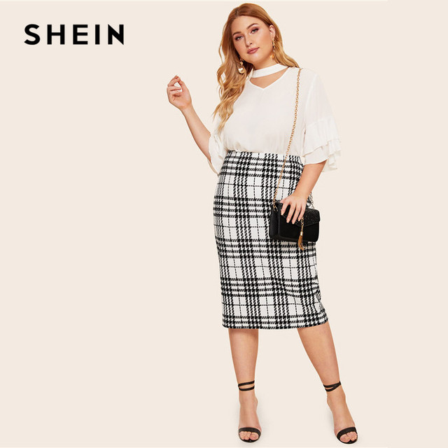 SHEIN Black Solid Women Plus Size Elegant Pencil Skirt Spring Autumn Office Lady Workwear Stretchy Bodycon Knee-Length Skirts 4