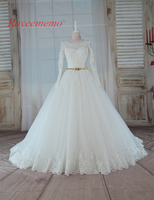 2017 bán New Design hot dài tay áo vàng belt Wedding Dress ren wedding gown bất hình ảnh nhà máy made giá bán buôn