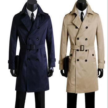 цена на Men's clothing plus size spring  autumn men's long trench coats design commercial double breasted coat outerwear blue fashion