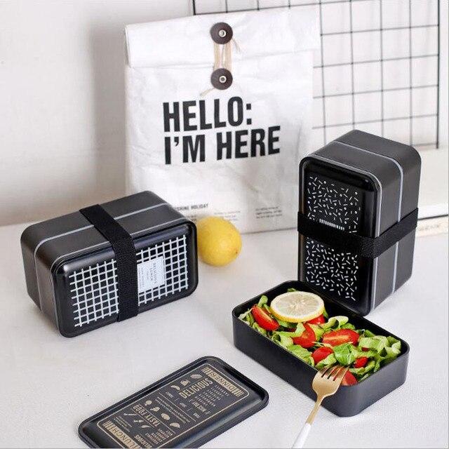 BPA бесплатно Пластик Коробки для обедов двойной Слои Еда контейнер Многофункциональный взрослых леди малыш Ланчбокс микроволновые черный ящик 2000 мл