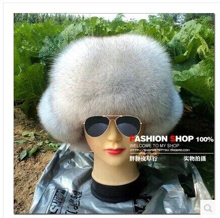 В зима мс лиса шляпа наушники лэй фэн кепка снег синий лиса натуральная кожа мех шляпы