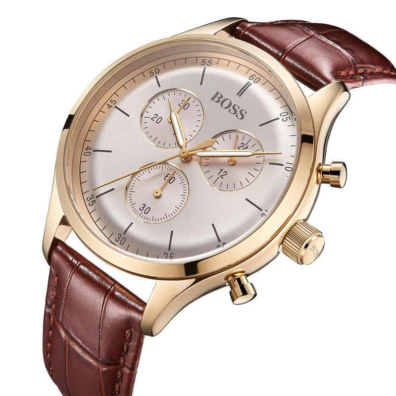 Jefe compañero cronógrafo reloj de cuarzo para hombre reloj de pulsera de negocios de moda con cuero marrón-1513545