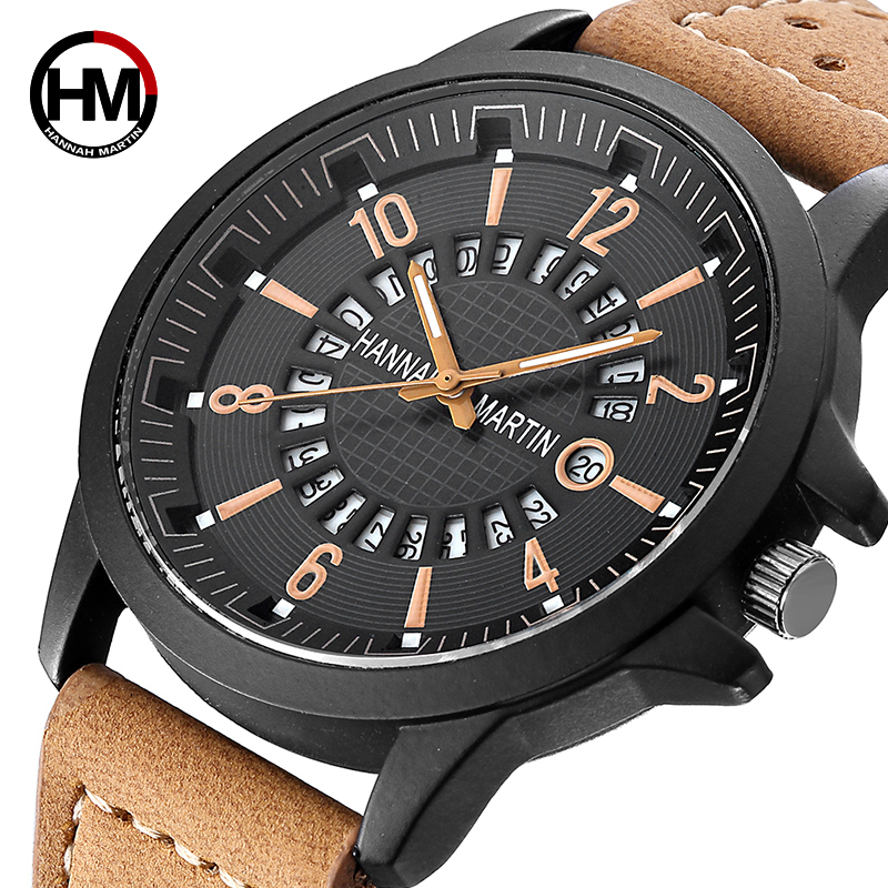 Creative Calendar Date Mens Watch Top Brand Luxury Men's Quartz Breathable Leather Sports Military Army Watch Relogio Masculino