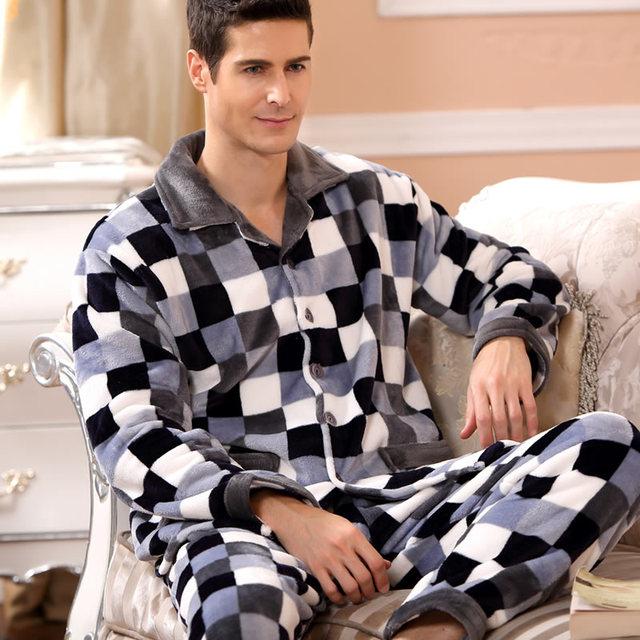 SusanDick 2019 New Winter Pajamas Men Thick Fleece Pajama Sets Luxury Warm Sleepwear Plaid Suits Man Casual Home Clothes Pijama 1