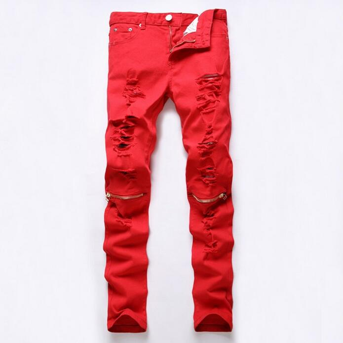 Red Jeans Men Knee Zippered Ripped Denim Pants New 2017 Male Holed Jeans Korean Fashion Free Shipping men distressed knee holed jeans vintage enzyme washed male ripped denim pants slim fit korean fashion kpop broken jeans