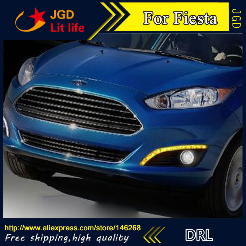 Free shipping ! 12V 6000k LED DRL Daytime running light for Ford Fiesta 2013 Fog lamp frame Fog light Super White leetka oil filter for ford fiesta white