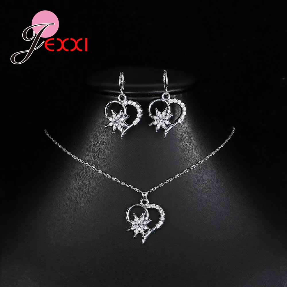 Korean Trendy Wedding 925 Sterling Silver Bridal Pendant Necklaces Earrings Jewelry Sets For Women Heart Crystal Jewelry Bijoux