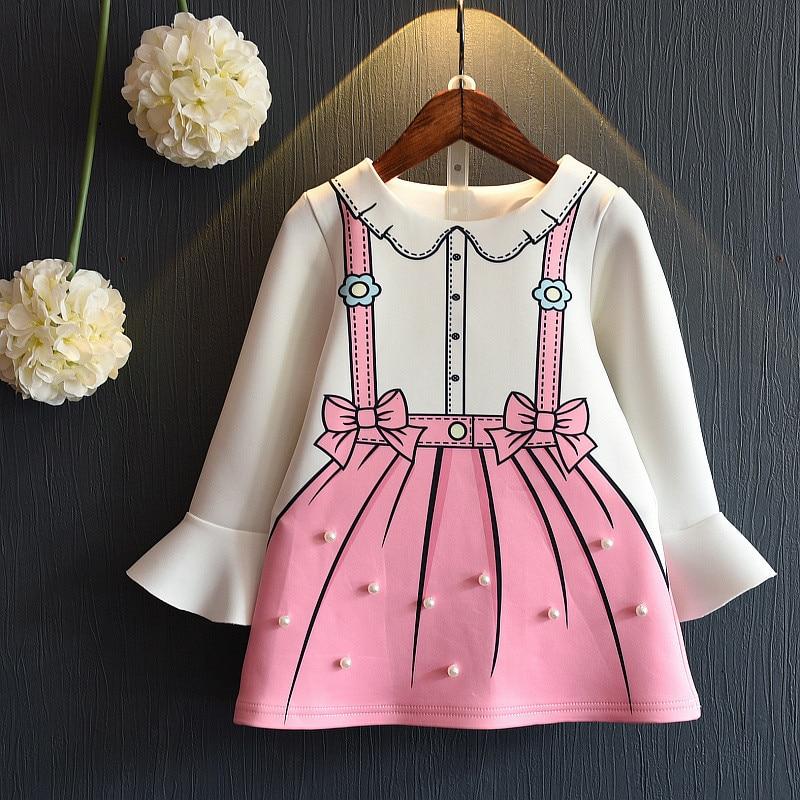5e6db1ac5d Dziewczyny księżniczka sukienka z długim rękawem jesień i wiosna dress for  kids dziewczyna ubrania drop ship graffiti dzieci sukienka z pearl