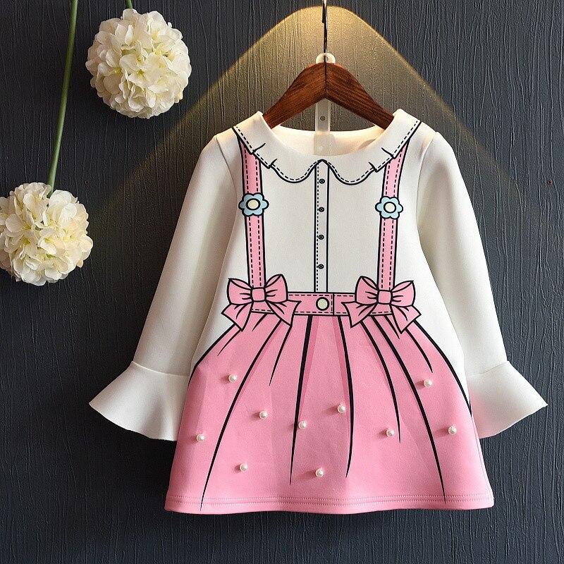e880c61ce3f Filles princesse robe à manches longues automne et robe de printemps pour  les enfants de fille vêtements drop ship enfants graffiti robe avec perle