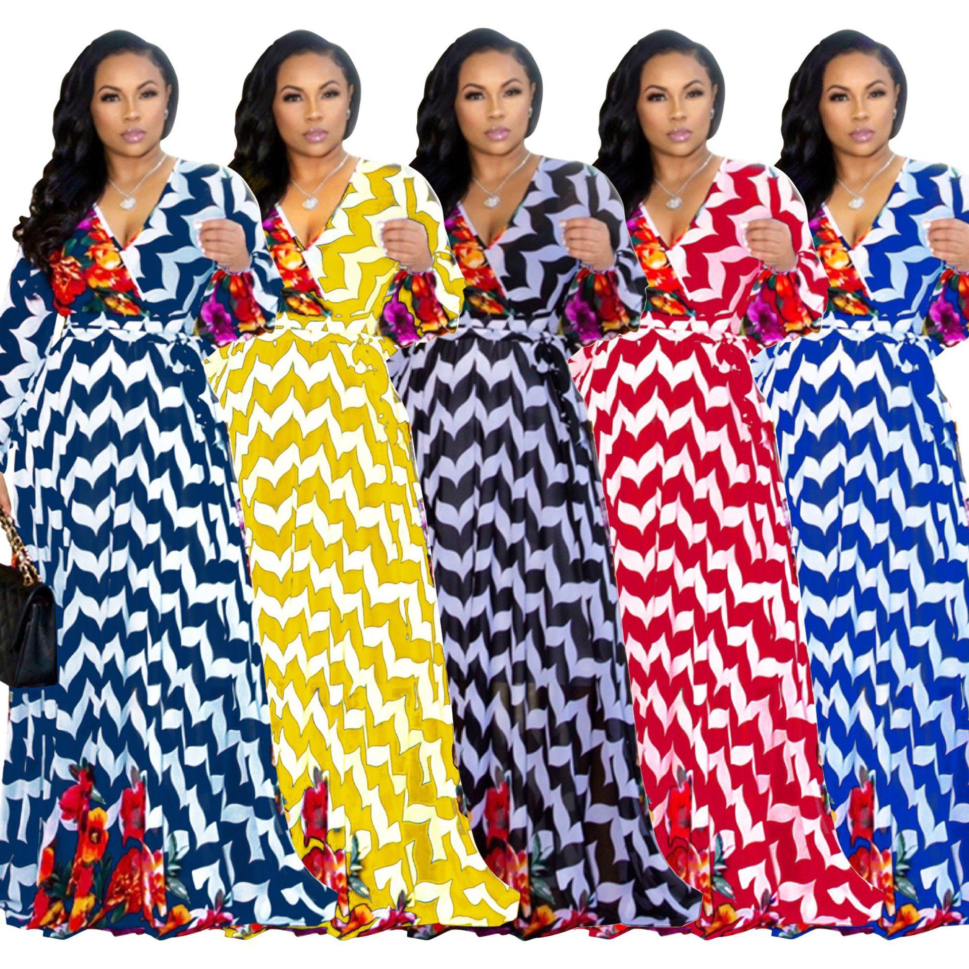 Rainbow Tie Dye Chiffon Maxi Dress Women Deep V Neck Long Lantern Sleeve Bohemian Dress Summer High Waist Sash Beach Dress