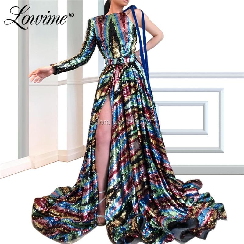 Dubai Elegant Sequin Evening Dress Long Prom Dresses One Shoulder 2019 Women Party Gowns African Graduation Party Dresses