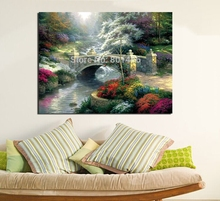 Spring Clarity of the River Thomas Kinkade Artwork Bridge of Hope Painting Prints on Canvas for Bedroom Wall Art Decor Best Gift thomas campbell the pleasures of hope