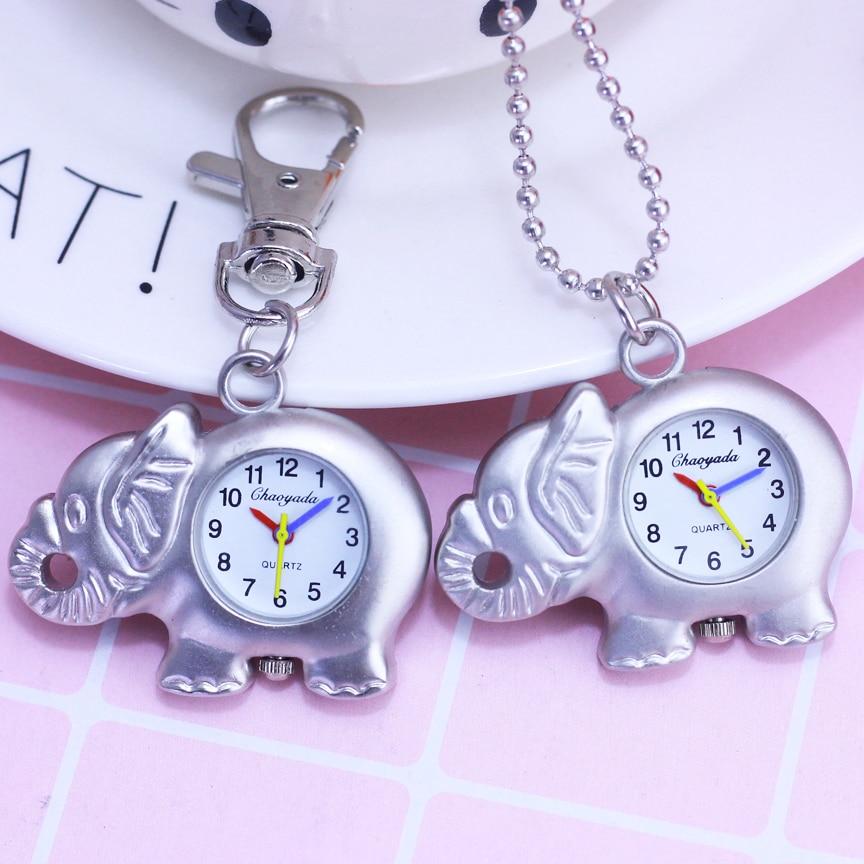 2018 Children Women Men Creative Elephant Quartz Pendant Accesories Necklace Pocket Watches Boys Girls Key Chain Clock Watches