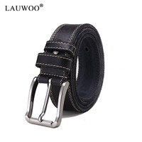LAUWOO 100 Imported A Level First Layer Of Yellow Leather Belt Real Brand Leather Belt Casual