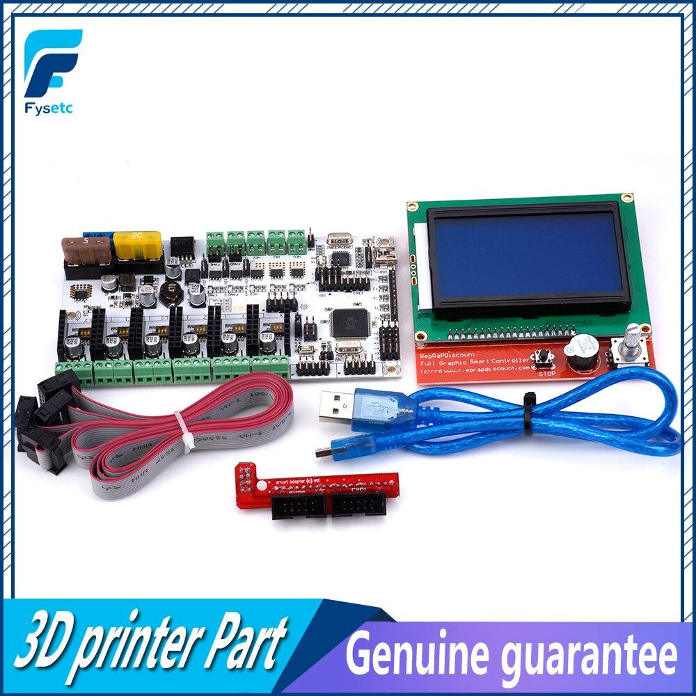Mise à niveau Rumba Plus Pour 3D Imprimante Commencer Kits Carte Mère Rumba + Conseil Soutien 3 pcs Extrudeuse Avec 12864 LCD Affichage écran