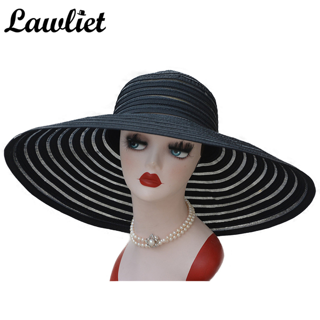 New Fashion Women Sun Hat Polyester Large Wide Brim Ventilation Summer Casual Fashion Beach Hats Elegant Ladies Floppy Hats A349
