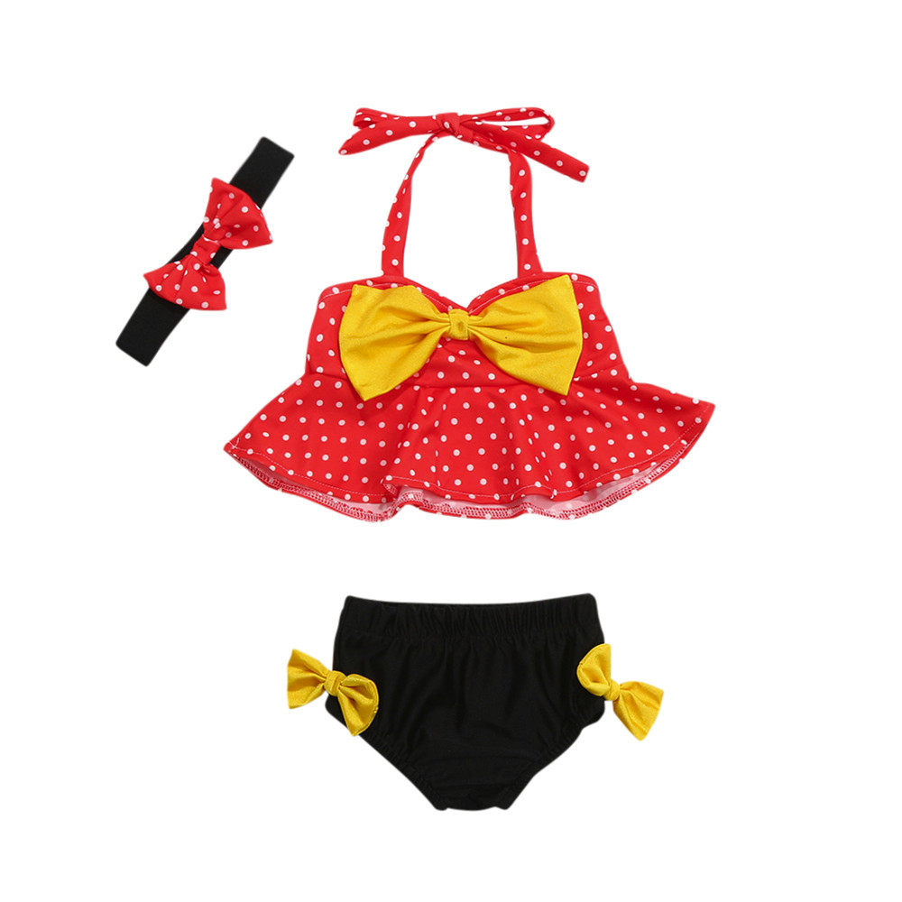 ARLONEET Baby Girl Swimwear Girl Straps Dot Swimwear Two Piece Swimsuit Bikini Set Outfi ...