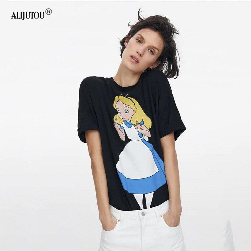 96c325e6251a Алиса черная футболка женская 2019 Новая летняя винтажная Уличная  Повседневная хлопковая Футболка с круглым вырезом с
