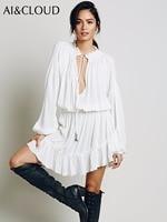 AI&CLOUD Women People Dresses Bohemian Loose Irregular Dress Hollow Out Long Sleeve Casual Summer Dress Ruffles Hippie Dress